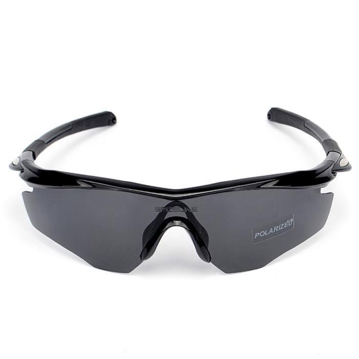 Polarized Cycling Lunettes de soleil Vélo UV400 Protection Sports Conduite  Golf Motocyclisme Pêche Patinage Ski Voyager Noir gris 4cc2f6e1001d