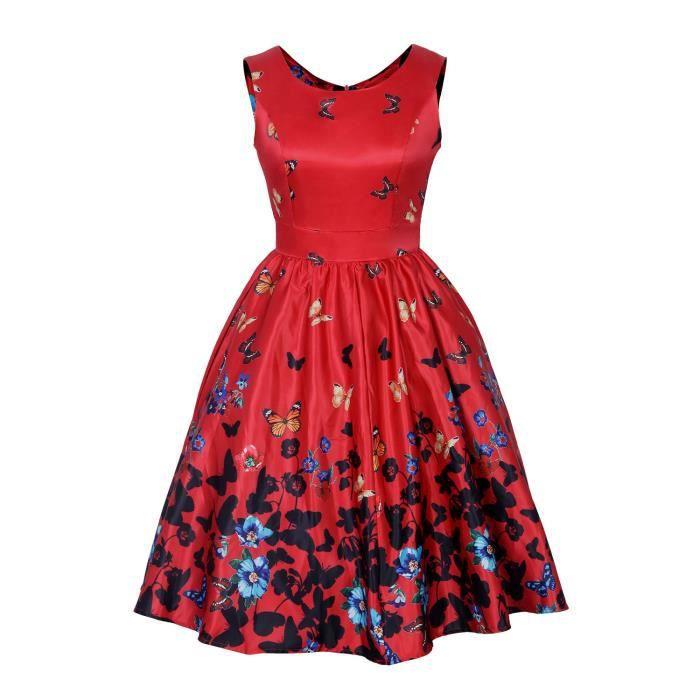 Wonder Beauty® Robe Vintage Rouge Femme Ceinture Fleurie Papillon Imprimée Grande Taille