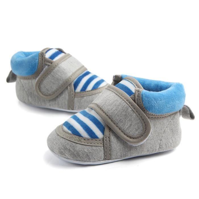 BOTTE Bande de bébé en plein air Stripe Slip First Walker nouveau-né bébé garçon fille bottes@Bleu