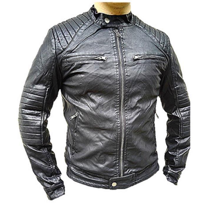 Manteau Simili Cuir Hiver Jacket Fourrure Blouson Homme Veste rtwPxqar