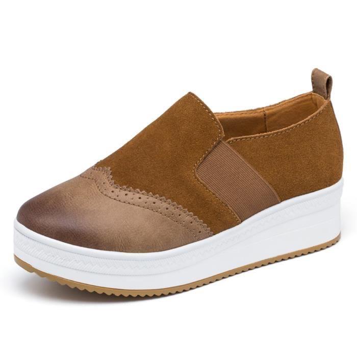 Slip On Platform Suede Penny Mocassins haut talon compensé Mocassins Sneakers de marche J0OTY Taille-39