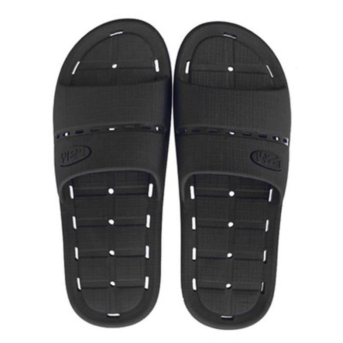 commander en ligne prix bas sélection premium NOIR Tongs de Piscine Salle de Bain Tong Claquettes Souple Sandale Fuite  d'Eau pour Homme