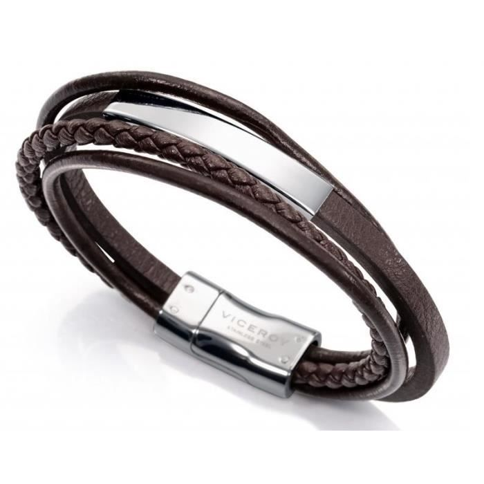VICEROY JEWELS Mod. FASHION 6368P09011 - BRACELET-BRACCIALE - STAINLESS STEEL - LEATHER-CUOIO