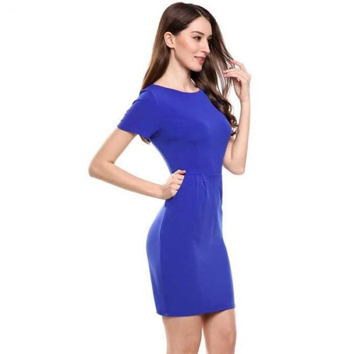 robe de travail femme élégante crayon Casual manches courtes col O solide élastique avec poches