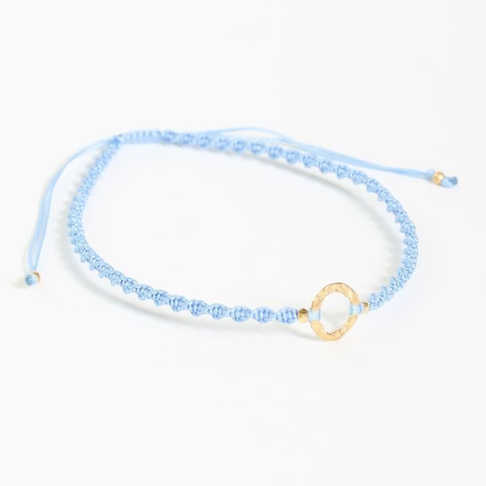 Womens Adjustable Friendship Bracelet Cotton String In Twist Design And Gold Plated On Brass RingYLO6P