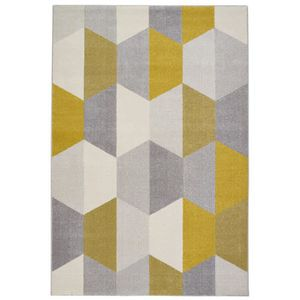 tapis de salon madrid style scandinave 160x230 cm gris et jaune achat vente tapis 100. Black Bedroom Furniture Sets. Home Design Ideas