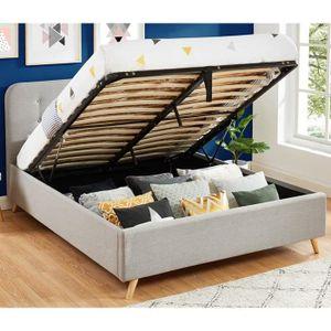 STRUCTURE DE LIT Lit coffre 140x190 gris clair avec tête de lit et