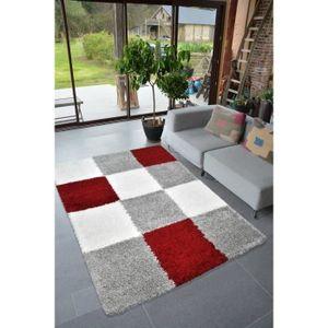 TAPIS NORA Tapis de salon shaggy - 160 x 230 cm - Rouge
