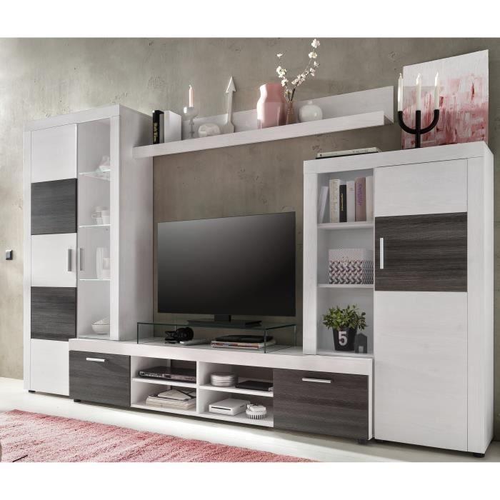 ALPIN Meuble TV Mural Avec LED Contemporain Mélaminé Décor Frêne Blanc Et  Frêne Foncé   L 301 Cm