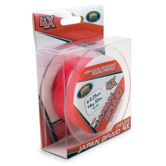 LINEAEFFE Tresse de pêche Japan Braid 4X - Rouge - Ø 0,30 mm