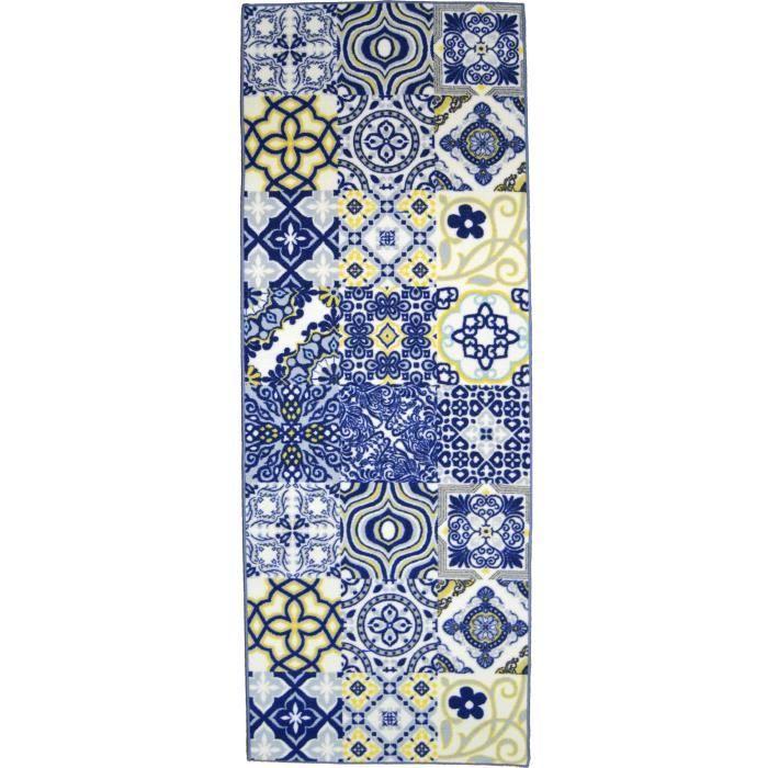Matière : 100% polyamide - Dimensions : 80x150 cm - Densité : 1250gr/m² - Coloris : bleu, jaune et blancTAPIS - DESSOUS DE TAPIS