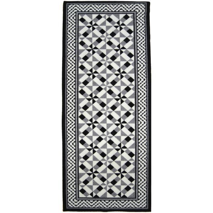 Matière : 100% polyamide - Dimensions : 80x150 cm - Densité : 1250gr/m² - Coloris : noir, gris et blancTAPIS - DESSOUS DE TAPIS