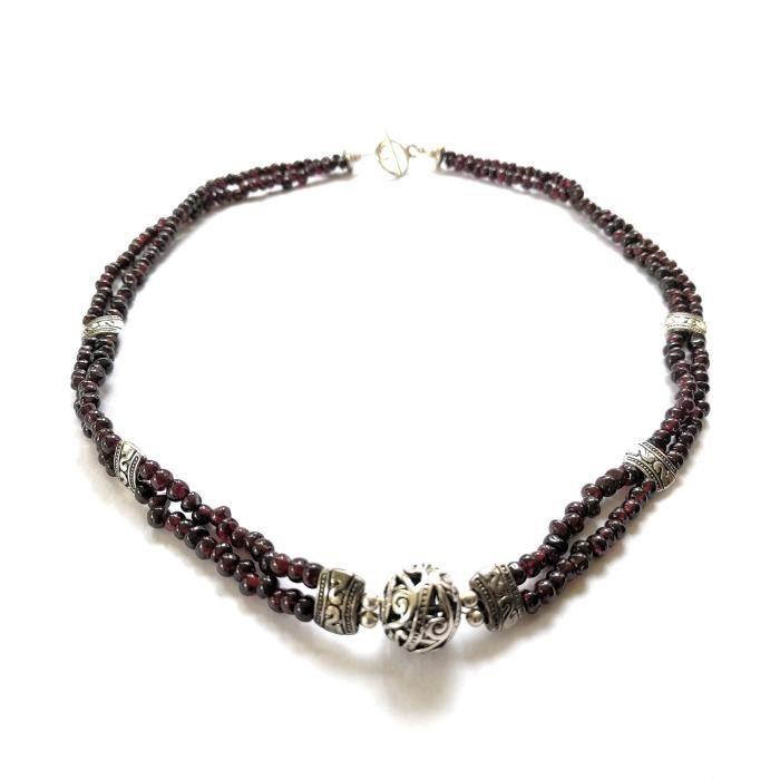 Western Filigrane Femmes Scroll Grenat double brin de pierre gemme Collier 20 pouces NROZJ