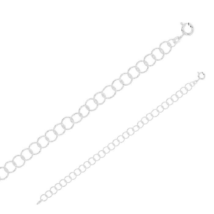 Jouailla - Bracelet maille fantaisie cercle limée laser en argent 925/1000 (19 cm)