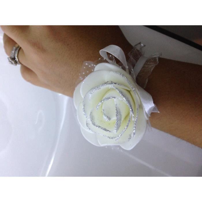 bracelet pour demoiselle d 39 honneur bjoux enfant fleur cr me pour mariage achat vente. Black Bedroom Furniture Sets. Home Design Ideas