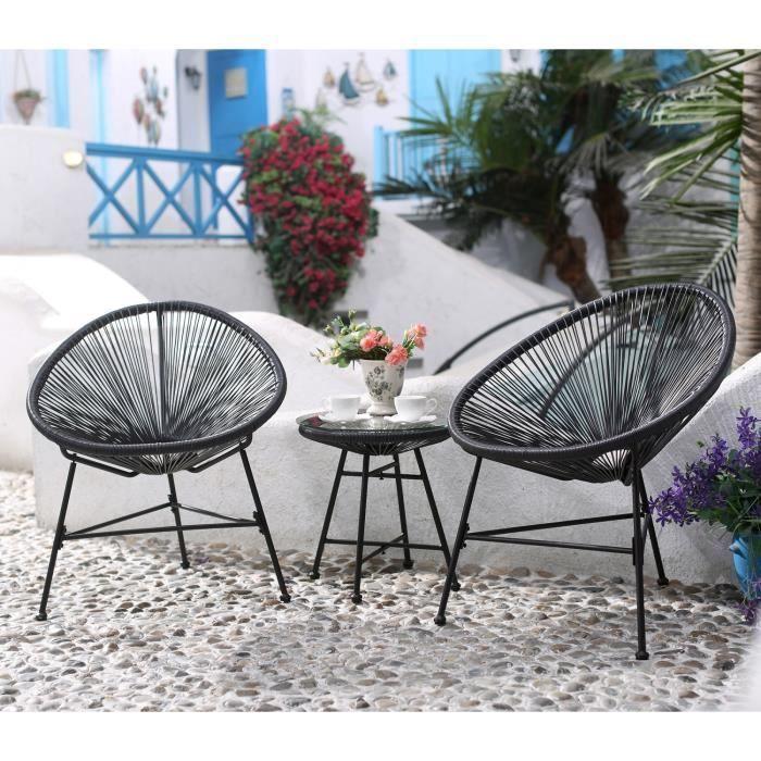 Santa Fe : Ensemble 2 fauteuils oeuf + table basse gris - Achat ...