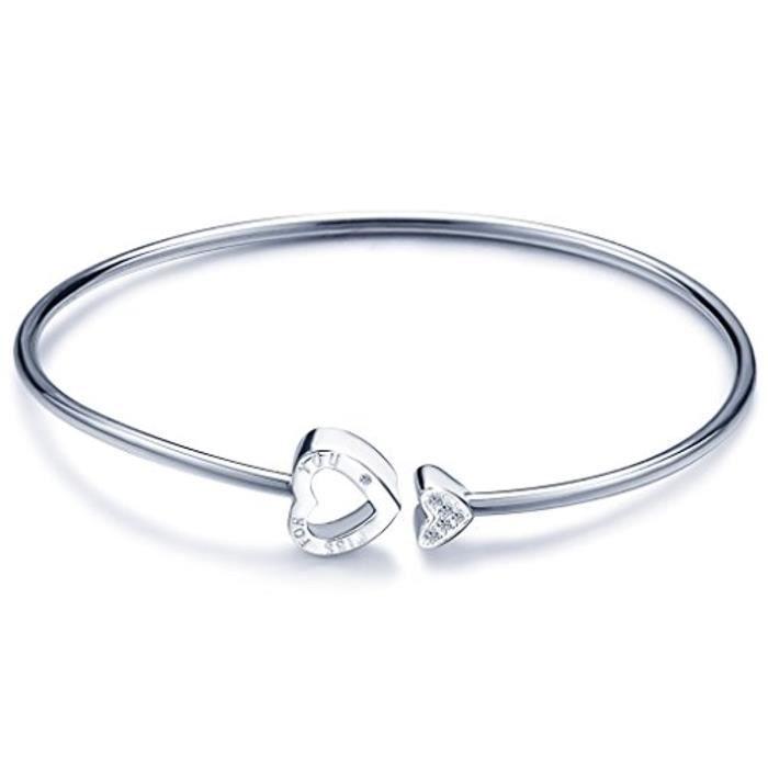 Bracelet En Argent 925 Orné Zircon Le Bouton De Cœur(Trois Manières De Porte)