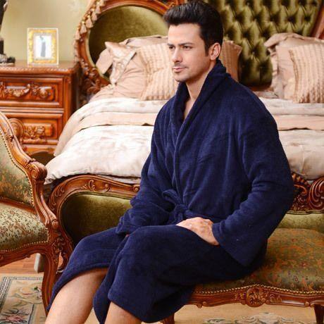 Robe de Chambre Polaire Homme Bleu Marine - Achat   Vente robe de ... 92cd5d588b7f