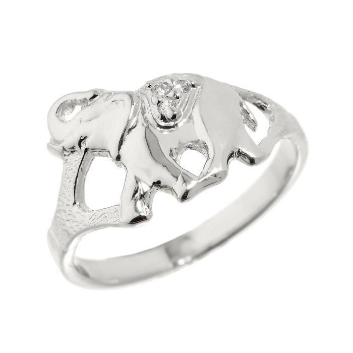 Bague Femme 14 ct Or Blanc 585/1000 Avec DiamantsEléphant