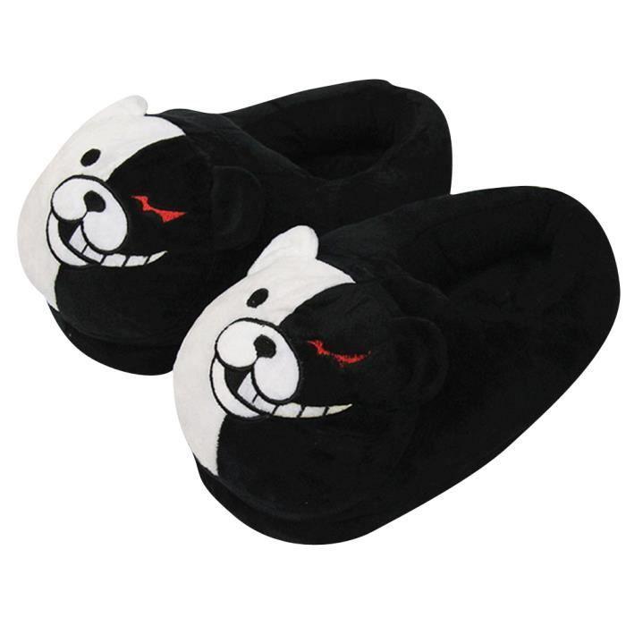 Pantoufles Femme Homme Ours noir et blanc En Peluche Hiver Populaire HZ-XZ161noir 6kWJRwM