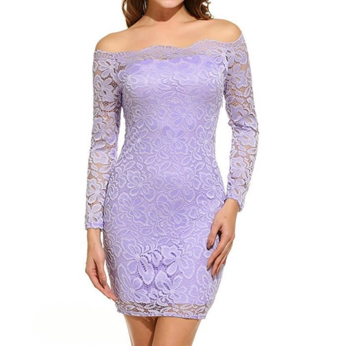 Frankmall®Femmes Vintage hors épaule dentelle robe de soirée manches longues Violet clair YHL71214181LP