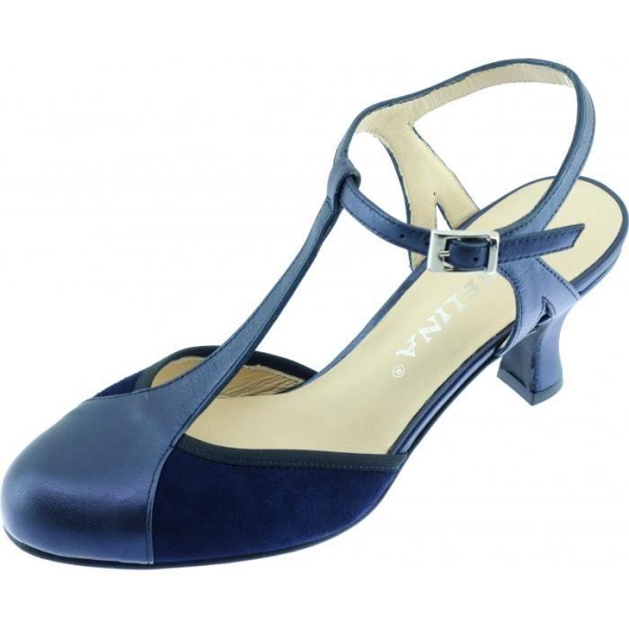 362d71fa4f7 GALANE - Escarpins à bride salomé talon moyen chaussures femme dance de  salon petites pointures marque Angelina cuir bleu nuit