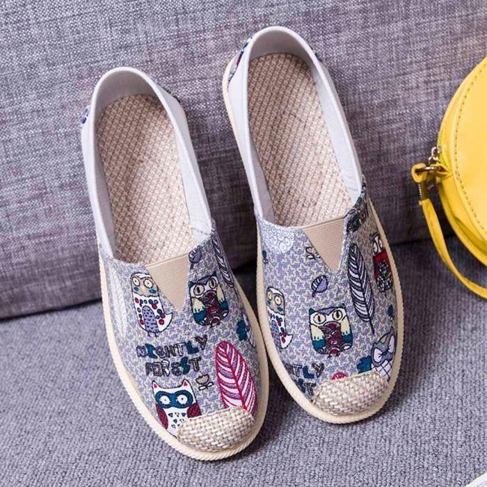 Chaussures Unisexes Vintage Lazy Sneakers Occasionnels Plates Respirantes Gris Bateau VqUzSpM