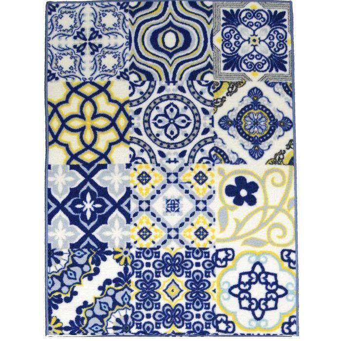 elegant tapis bleu jaune l 39 id e d 39 un tapis de bain. Black Bedroom Furniture Sets. Home Design Ideas
