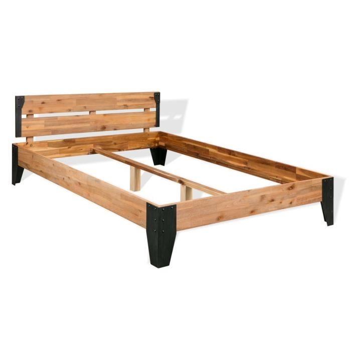vidaxl cadre de lit bois dacacia massif acier 180 x 200 cm - Cadre De Lit Bois Massif