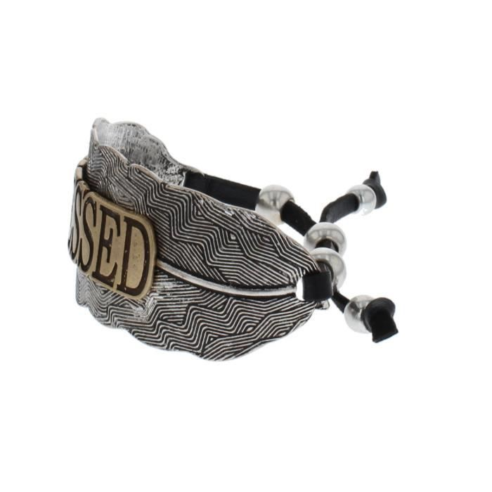 Womens Rustic Message Adjustable Cuff Bracelet JNGL1