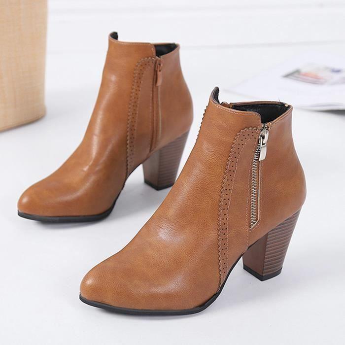 b3e83ee7368bbe Cheville Bottines Éclair Chaussures Épais marron Vintage Talon Spentoper  Talons Chunky Femmes Fermeture Courte Botte wAx4qvP