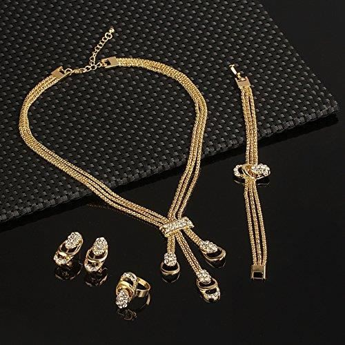 Womens Exuberant Crystal And Cubic Zirconia Studded 18k Yellow Gold Plated Alloy Jewellery Set For SNMB2
