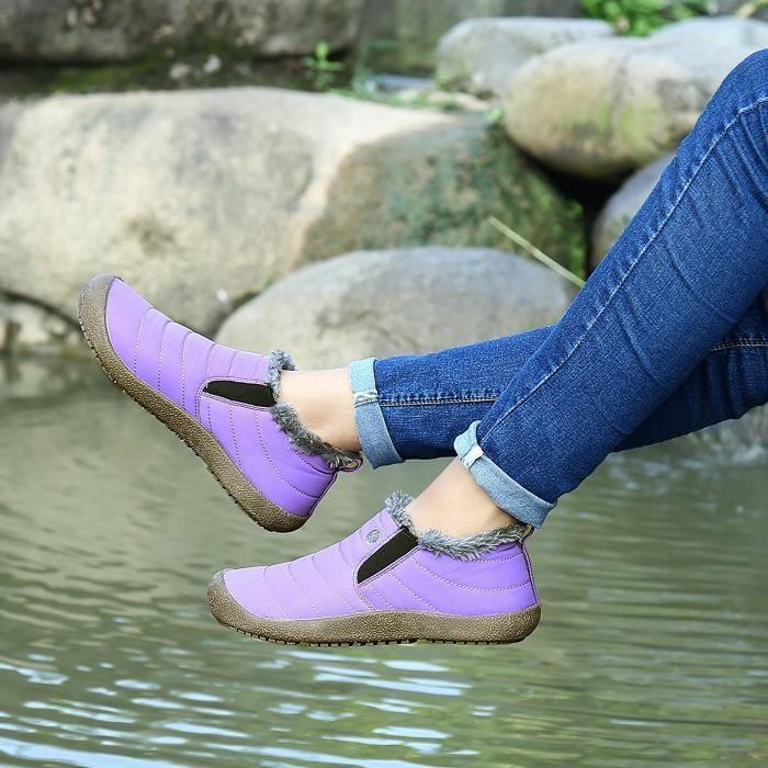 Minetom Printemps Unisexe Fourrées Chaudes Bottes Waterproof Chaussures Hautes Basse Plates Boots Bottines pour Femmes Homme OLocD2BTt