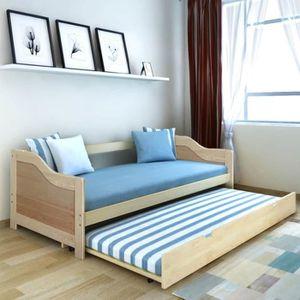 LIT ESCAMOTABLE Canapé-lit de jour bois de pin naturel 200 x 90 cm
