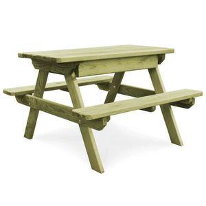 Table de jardin en bois avec banc - Achat / Vente Table de jardin en ...