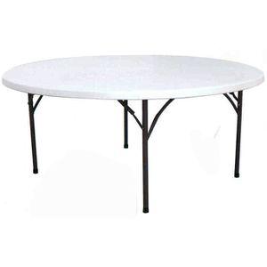 Table de jardin ronde en plastique Gris - Achat / Vente ...