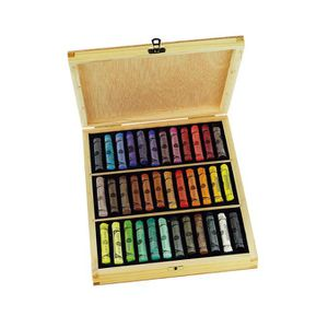 PASTELS - CRAIE D'ART Coffret en bois de 90 pastels payasage