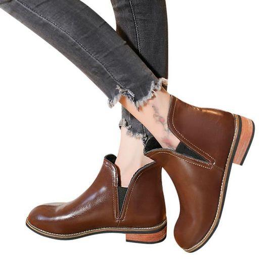 marron Bottillons Color Femmes Talon Martin Bottes Rondes Chaussures Carré Cuir Toe Pure Spentoper En Shoes f6ybYg7