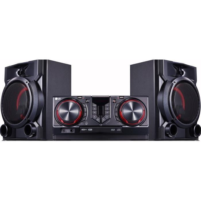 LG CJ65 Mini-chaîne 2.0 - Bluetooth - 900W - Expérience DJ & Karaoké - 2 ports USB