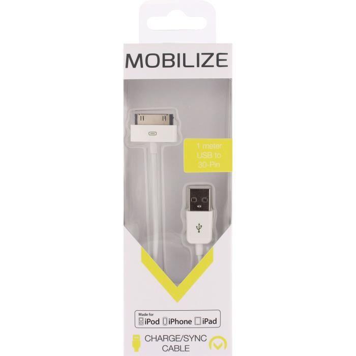 MOBILIZE Câble de charge et synchronisation USB A pour Apple Blanc