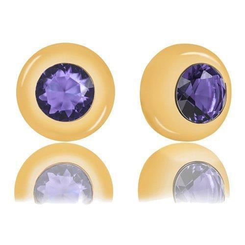 18k Gold Plated Bezel Cubic Zirconia Solitaire Stud Earrings (5.00 Carats) GP1I7