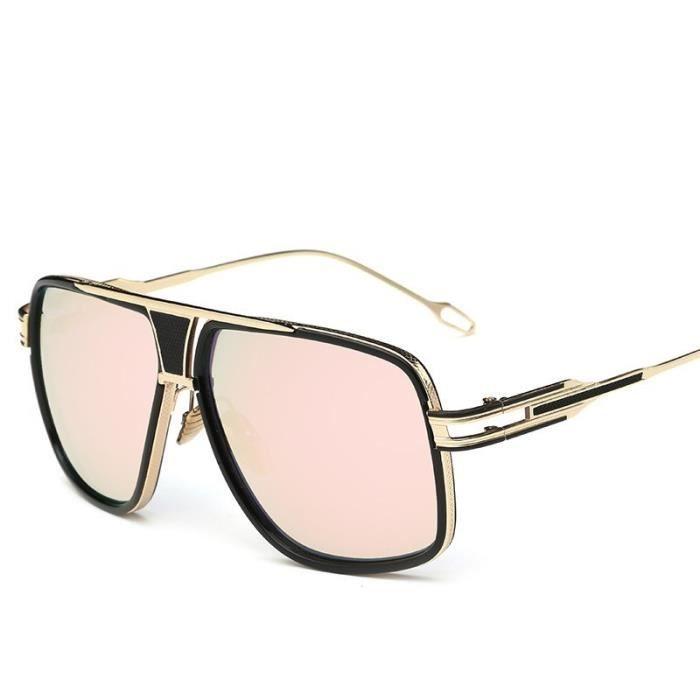 Trend lunettes de soleil mode rétro métal grosse boîte couple hommes lunettes de soleil