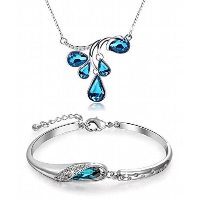Cristal Combo Femmes Pendentif Set Collier et Bracelet PourCBEJX