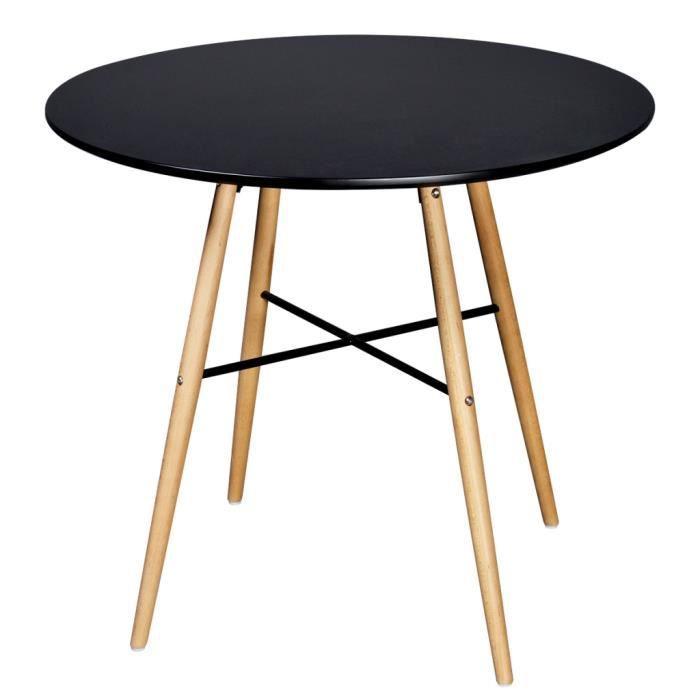 Table Salle A Manger Bois Noir Achat Vente Pas Cher