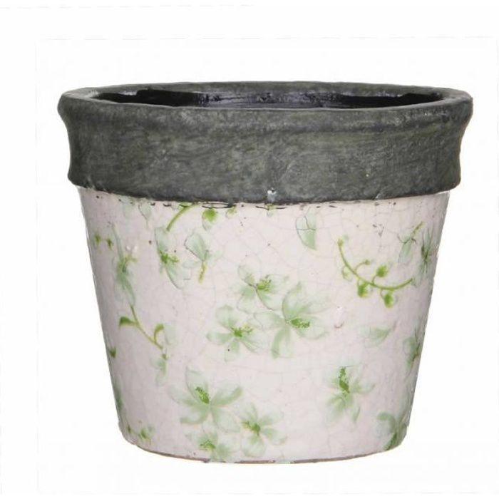 Cache Pot ou Jardinière Motifs Fleurs Vertes Façon Poterie Ancienne en  Terre Cuite Ton Pierre 10,5x11,5cm Blanc