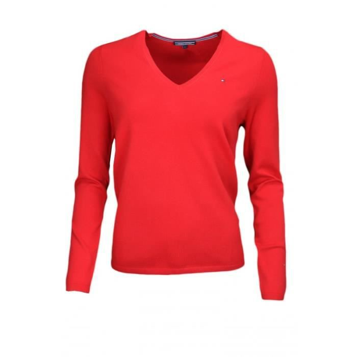 Pull col V Tommy Hilfiger New Ivy rouge pour femme Rouge - Achat ... a3c34f9a86a0