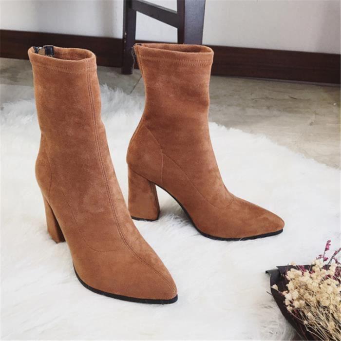 bottes à talons femmes Talons hauts personnalité chaussures suédé résistantes à l'usure Chaud Confortable mi-b dssx708jaune39 n5BTjy5
