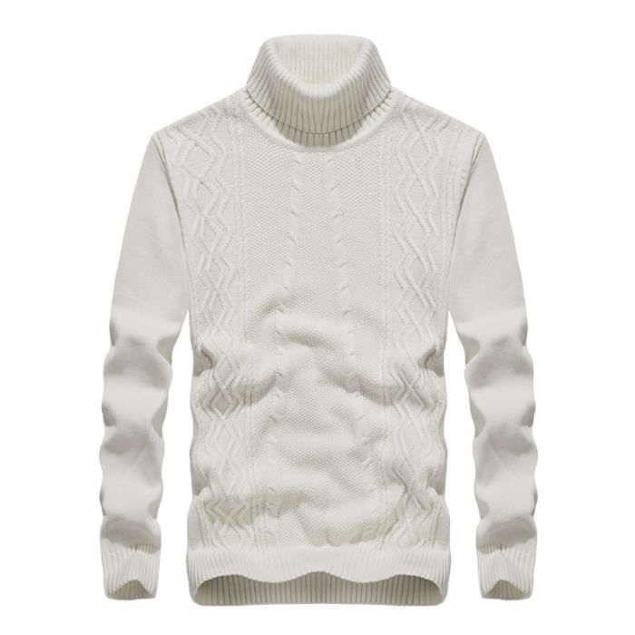 Homme Pull Automne Hiver Pulls Tricot Col Roulé Sweater Coton Pullover Uni  en Maille Pull-over 710f49ef8ae7