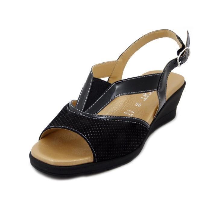 NoirTalon Brillant Et Daim FemmeCuir Sandale Pour Confort UGLpzVjqSM
