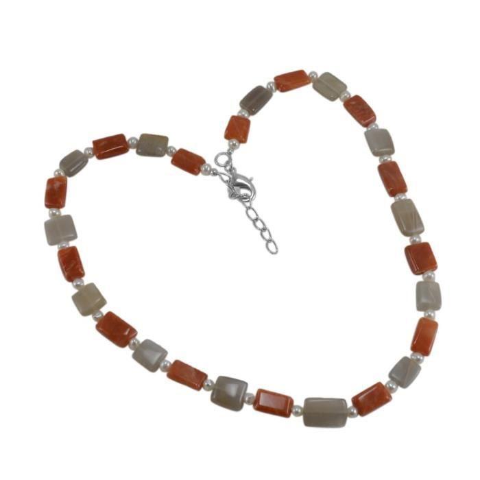 Femmes Orange, Gris Quartz et pierres précieuses Collier de perles Pg-128540 XTK9J